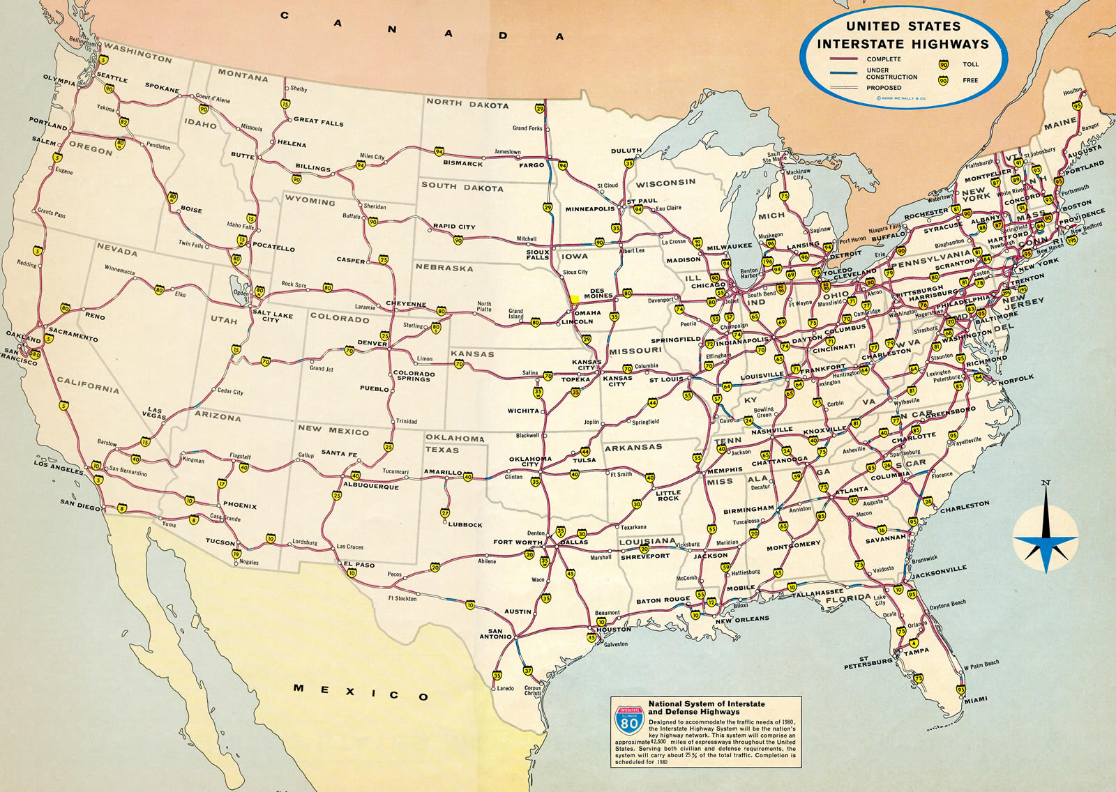 The Interstate Highway system in 1974.