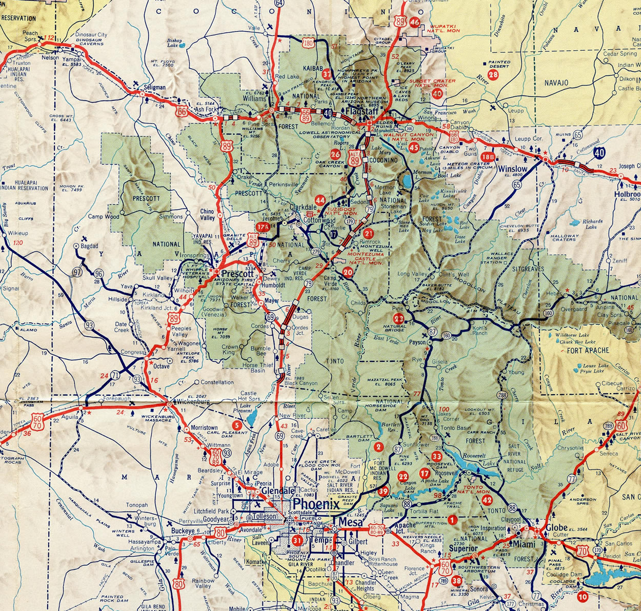 Highway Map Of Arizona.Interstate 17 Interstate Guide Com