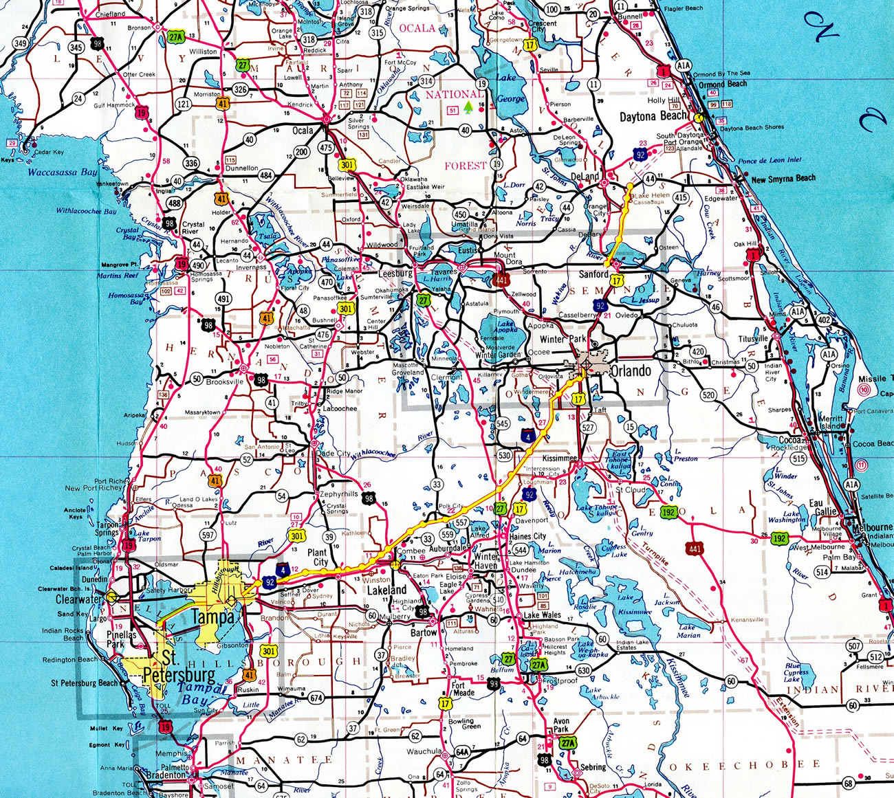 Florida Central Map.Interstate 4 Interstate Guide Com