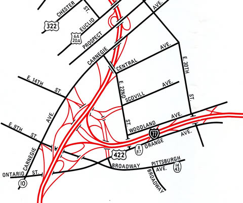 The north end of Interstate 77 - 1990 Cuyahoga County Engineers Map