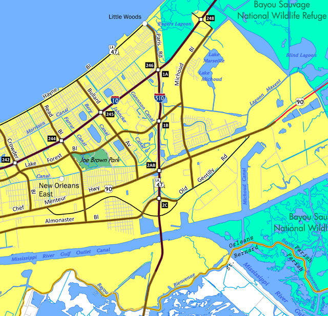 I-510 - New Orleans East Map