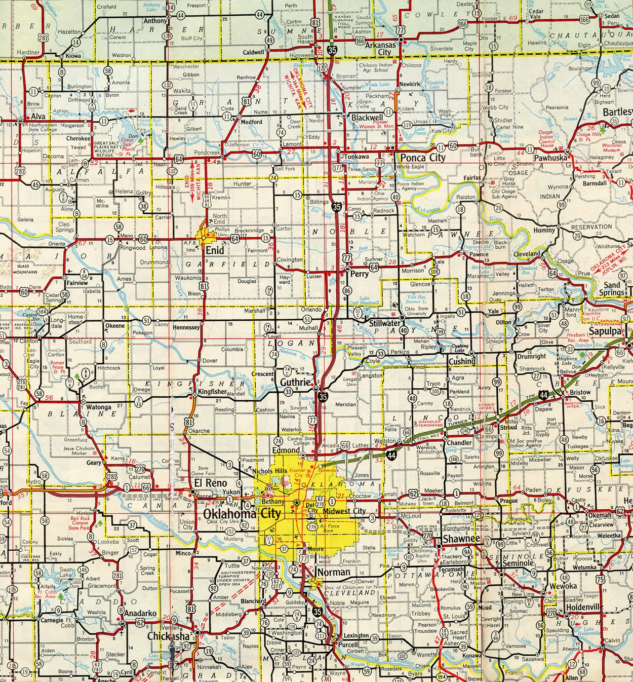 Interstate 35 - Interstate-Guide.com on kansas state physical map, map of kansas and oklahoma, kansas soil maps, missouri pacific railroad map oklahoma,