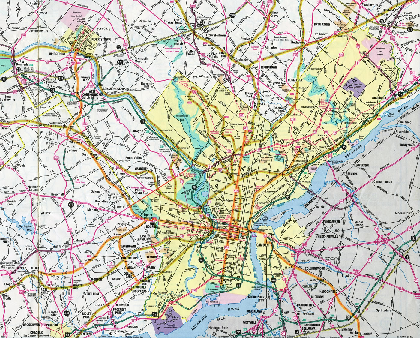 Interstate 476 Pennsylvania - Interstate-Guide.com on city of dover pa, map of 19124, map of center city pa, map of pa towns, map of west philly pa, map of cities surrounding philadelphia pennsylvania, map of phila metro area, new york city on a map of pa, road map of phila pa,