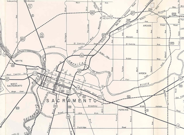 Sacramento - 1969 California Official State Map