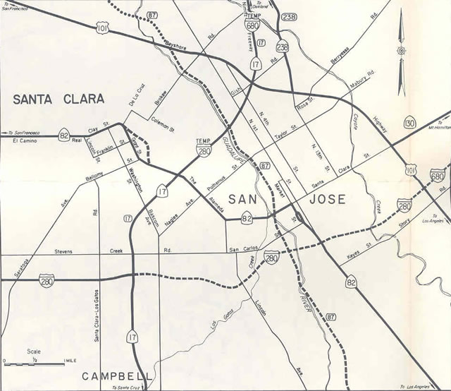 San Jose - 1968 California Official Map