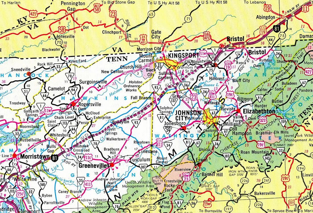 Interstate 181 Tennessee - Interstate-Guide.com on map of north puerto rico, map of north alabama, map of south tenn, map of southwest tenn, map of north florida,