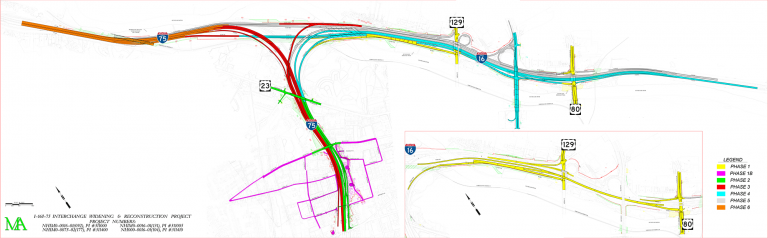 I-16/75 Improvement Project - Phase Map