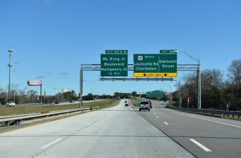 I-16 east/US 17 north split - Savannah, GA