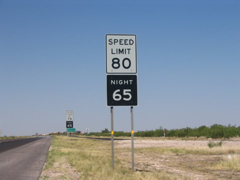 IH 20 west - 80 MPH Speed Limit