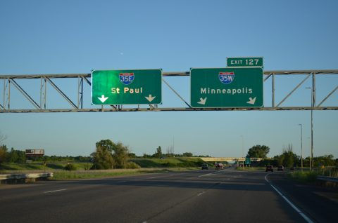 I-35 south at I-35E/W split - Columbus, MN
