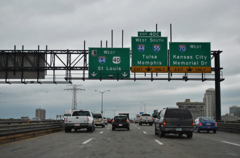 I-55/64/70 west - Poplar Street Bridge - 2012
