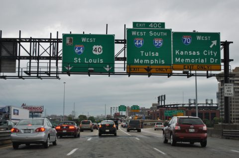 I-55/64/70 west split - St. Louis, MO - 2012