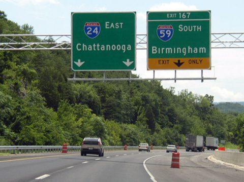 I-24 east at I-59 - Wildwood, GA