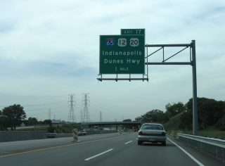 I-90/Indiana Toll Rd west at I-65/US 12-20 - Gary