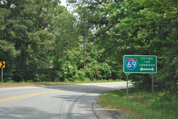Future I-69 Corridor sign - US 278 near Monticello, AR