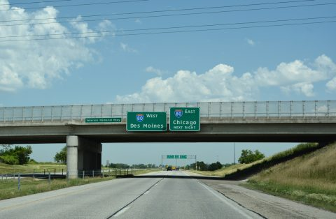 I-74 west at I-80 - Davenport, IA