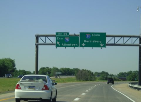 I-81 south at I-78 - Union Twp, PA