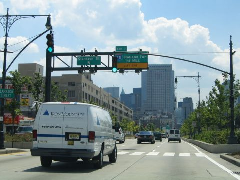 NY 9A south at I-78/Holland Tunnel - Manhattan