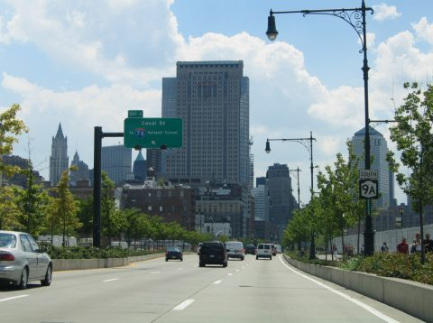 NY 9A/West St south at I-78 - Manhattan
