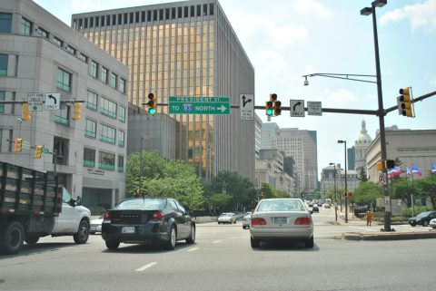 Fayette St west at I-83 - Baltimore, MD