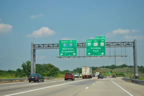 I-81/US 322 east at I-83 - Susquehanna Twp, PA