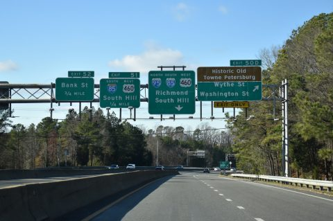 I-95/US 460 north at I-85 - Petersburg, VA