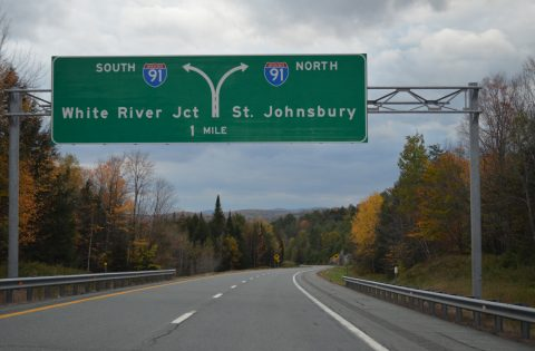 I-93 north at I-91 - Waterford, VT