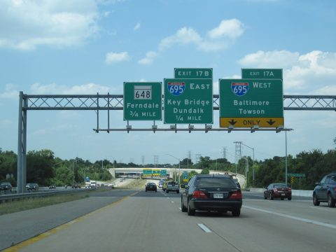 I-97 north at I-695/I-895 Spur - Ferndale, MD