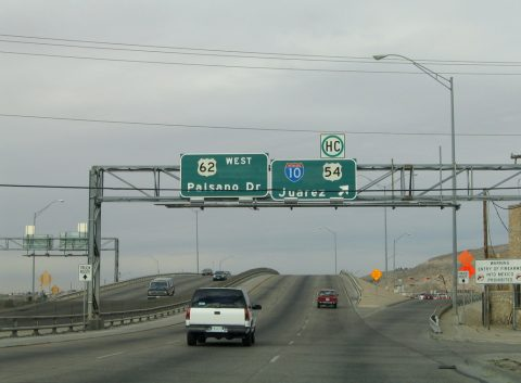 US 62 west at IH 110 - El Paso, TX