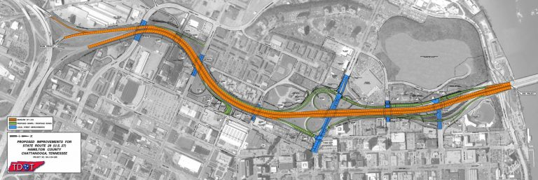 US 27/I-124 Reconstruction in Downtown Chattanooga map