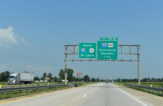 I-55/US 61 north at I-155/US 412 - Hayti, MO