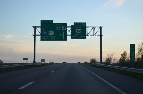 I-55/US 61 south at I-155/US 412 - Hayti, MO