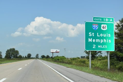 I-155/US 412 west at I-55/US 61 - Hayti, MO
