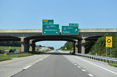 I-69 south at I-169/Western Kentucky Pkwy - Mortons Gap