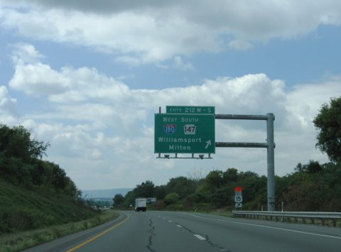 I-80 west at I-180/PA 147 - Turbot Twp