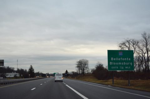 I-180 east at I-80/PA 147 - Delaware Twp