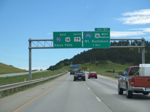 I-90/US 14 east at I-190/US 16 - Rapid City, SD