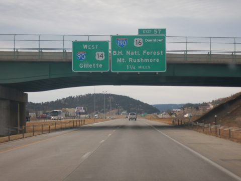I-90/US 14 west at I-190/US 16 - Rapid City, SD