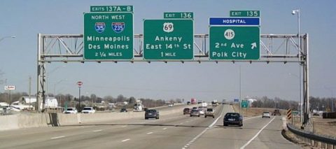 I-35/80 east at Iowa 415 - Des Moines, IA