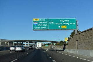 I-238 south at SR 238 / Foothill Blvd