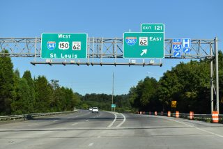 I-64/US 150 west at I-265 - New Albany, IN
