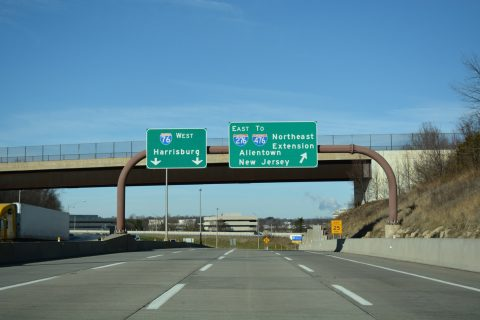 I-76 west at I-276/PA Turnpike - King of Prussia