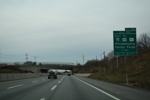 I-276/PA Turnpike west at King of Prussia