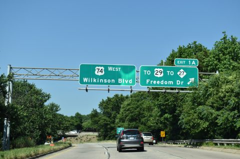 I-277/US 74 west at Wilkinson Blvd - Charlotte, NC