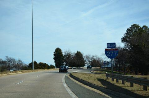 US 74 east at I-77 and I-277 - Charlotte, NC