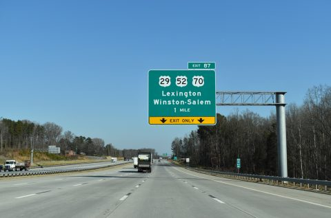 I-85/US 29-52-70 north at I-285 - Lexington, NC