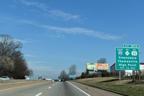 I-285/US 52 north at I-40 - Winston-Salem, NC