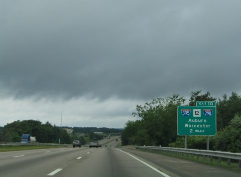 I-90/Mass Pike west at I-290/395 - Auburn, MA