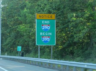 I-290 west at I-90/395 - Auburn, MA