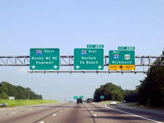 I-295 south at I-64 - Henrico Co., VA